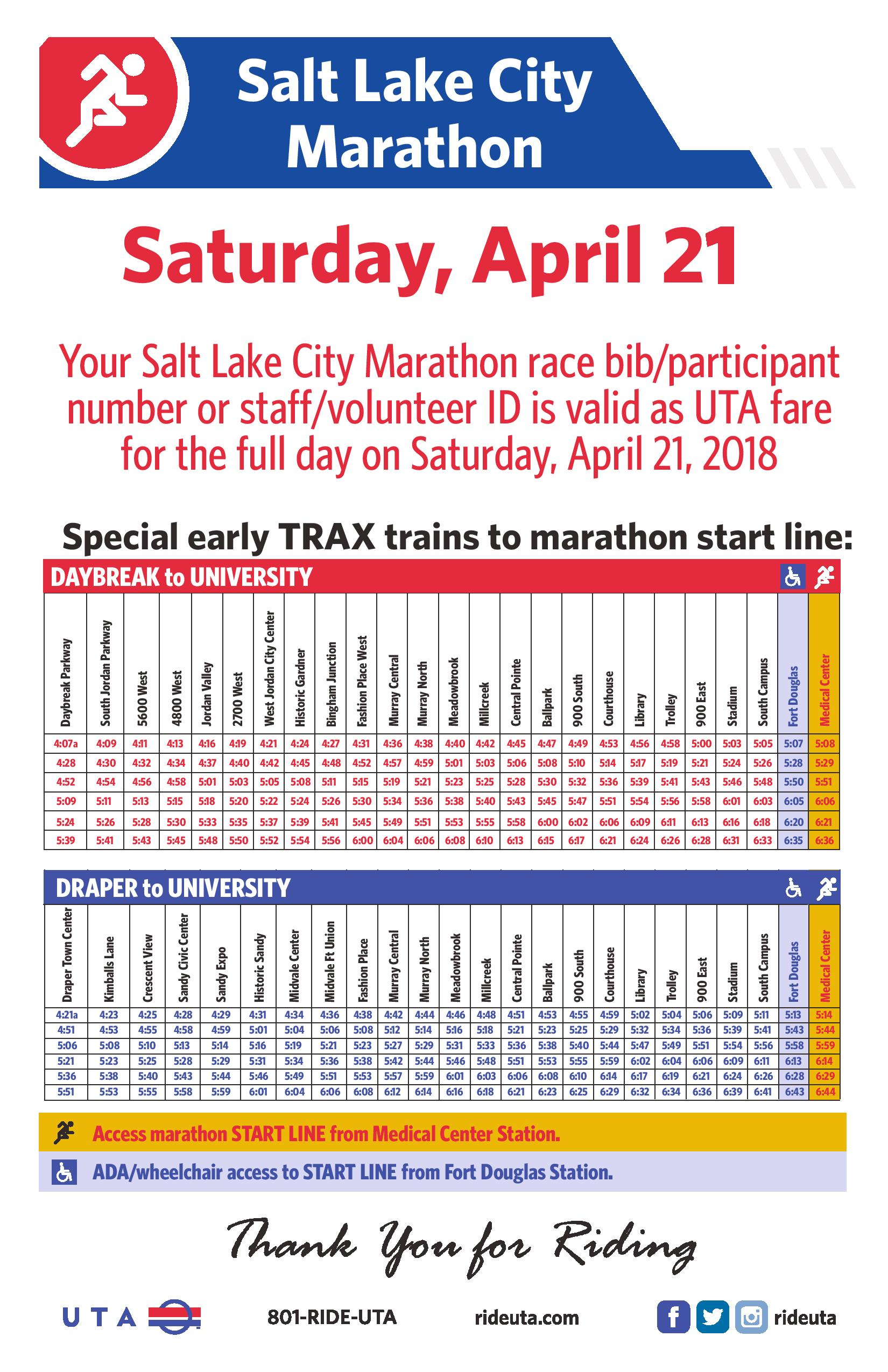 uta offers early service to slc marathon