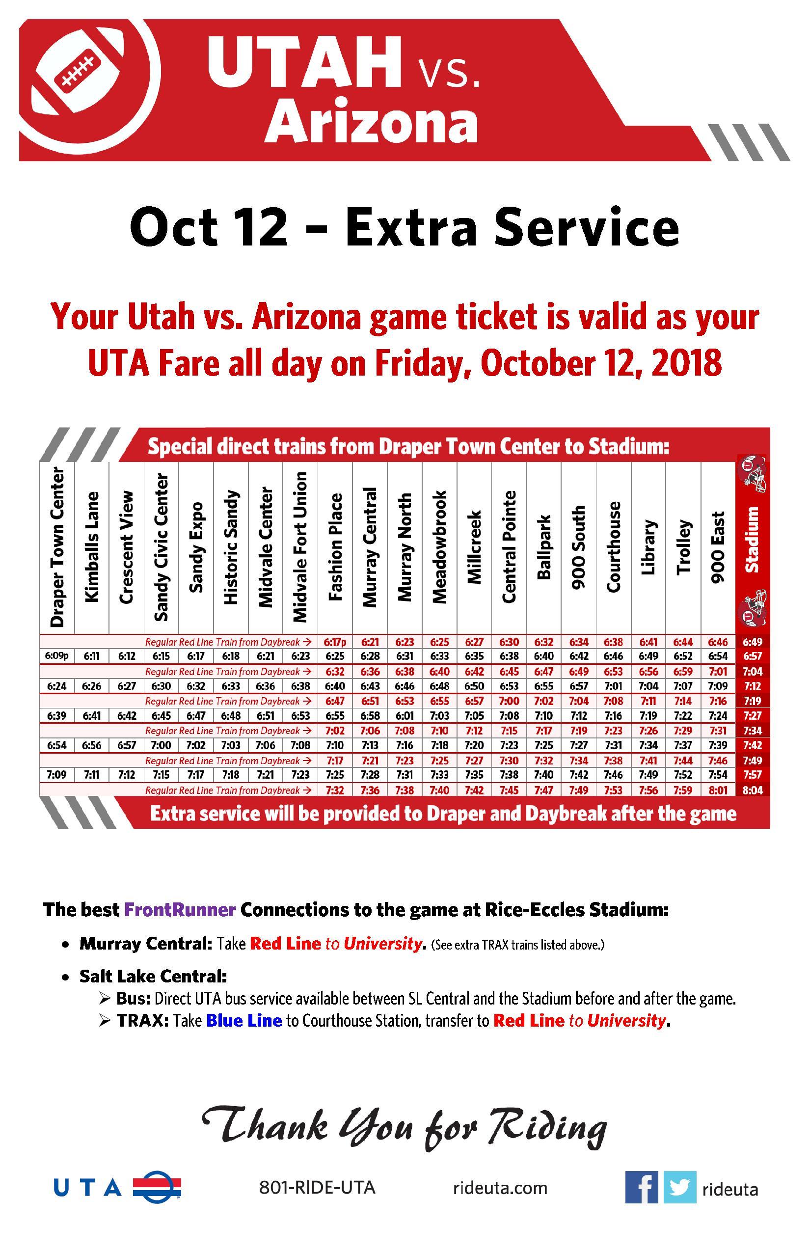 Ride UTA to University of Utah Football